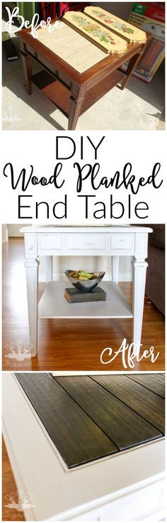 Wood Planked End Table--Thrift Store Upcycle http://thekolbcorner.com/wood-planked-end-table/