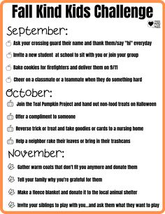 A fun and easy way to help your children think about being kind to others during the fall season! A great fall activity for the whole family. Print out this checklist and encourage your kids to do these kindness activities for kids to make being kind more of a habit. They're perfect fall activities for families to do together. #fallactivitiesforkids #kindnessactivitiesforkids #kindnessactivities Fun Outdoor Activities, Autumn Activities For Kids, Activities To Do, Kindness Challenge, Kindness Activities, New Students, Science Projects, Say Hi, Families