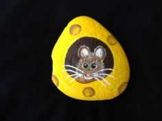 Mouse and cheese, rock painting