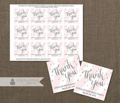 Blush Pink & Silver Glitter Favor Tags with a soft pastel Stripe by digibuddhaPaperie, $8.00 Perfect for any occasion - bridal shower, baby shower, wedding, baptism, birthday...