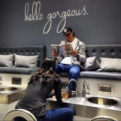 """What I notice when men come in for their first manicures and pedicures is their embarrassment,"" says Jamie Ahn, Founder and Creative Director of Townhouse Spa in NYC. ""But more men come in for manicures and pedicures then they realize. Nail Salon Design, Nail Salon Decor, Beauty Salon Design, Beauty Salon Interior, Manicure Y Pedicure, Nail Spa, Pedicures, Men Spa, Pedicure Station"
