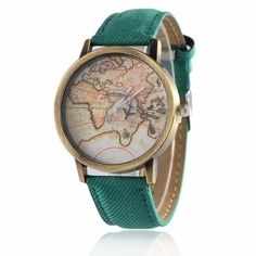 Watches Women Fashion Denim Leather Wristwatch Map Airplane Watches Men Quartz Watch Personality Casual Vintage Relogio W0174