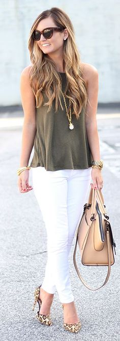Army Green, White And Leopard Casual Business Outfit Idea by For All Things Lovely