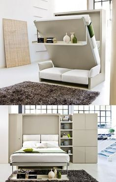 44 Cozy Furniture Design For Small Apartments Furniture For Small Spaces, Space Saving, Space Saving Furniture, Space Furniture, Bed Design, Home, Bed Wall, Small Apartment Decorating, Furniture Design