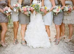 Not necessarily the gray, but the different tones of the same color ~ a great way to let bridesmaids express themselves while keeping the bridal party look put-together!