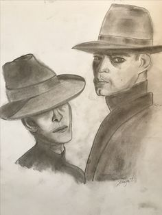 Charcoal sketch black and white portrait pair hats