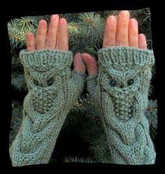 Owl cable warmers for wrist/arms
