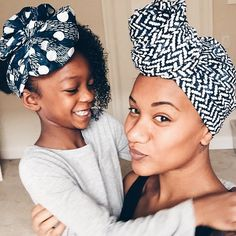 @alex_elle and her daughter Char wearing our hand printed head wraps.
