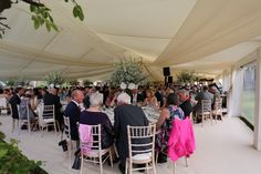 The dining part of the wedding marquee in hertfordshire