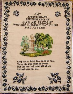 Extremely large and unusual beaded mourning sampler, made in memory of Sarah Gildin, 16th August 1868, who died aged 72 years.