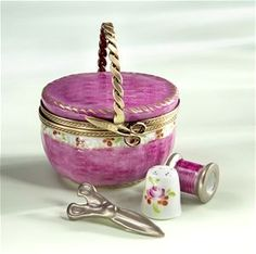Limoges Pink Sewing Basket with Scissors Box The Cottage Shop