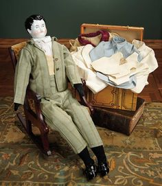 """""""For the Love of the Ladies"""" - October 1-2, 2016 in Phoenix, AZ: 241 German Porcelain Gentleman Doll with Chair and Trunk of Costumes"""
