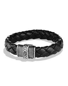 David Yurman Black Lthr Chevron Bracelet