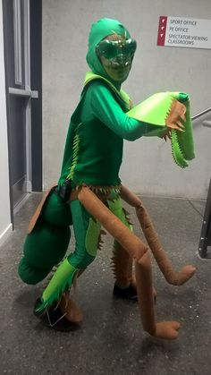 Praying Mantis Costume for Marcello's school production of Bugz. was fun to make, can't see the detail in the picture.