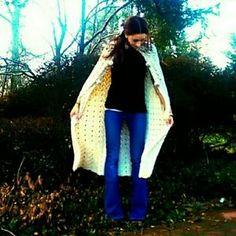 Vintage Jackets & Coats - Vintage 1960s Crocheted Hooded Boho Cape/Cloak 2