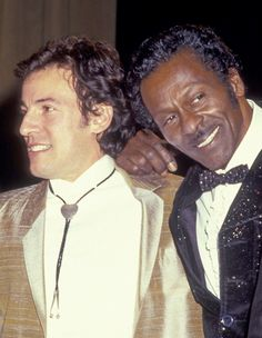 "my-retro-vintage: ""Bruce Springsteen and Chuck Berry attend the Second Annual Rock & Roll Hall of Fame awards Waldorf Astoria Hotel in New York 1987 """