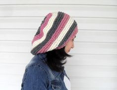 Knitted Slouchy Hat, Multicolor Hat,Winter Hat, Ribbed Chunky Hat, Beanie, Beret,Winter Accessory on Etsy, $29.00