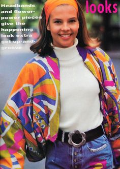 November 1990 'Headbands and flower power pieces give the happening look extra get-up-and-groove. 80s Inspired Outfits, 70s Inspired Fashion, Retro Outfits, Cute Outfits, Retro Fashion 80s, 2000s Fashion, Vintage Fashion, Fashion Outfits, 80s Womens Fashion