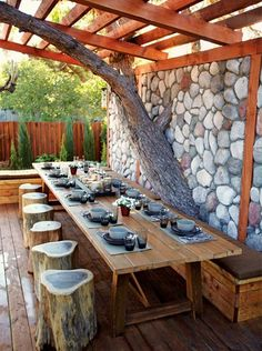 how to make your own diy outdoor dining table - If you haven't yet set up a space for outdoor dining, we have put together a collection of gorgeous outdoor dining that will inspire you to grab your power tools and some wood, or shop around for affordable alternatives. - See more at: http://www.home-dzine.co.za/garden/garden-awesome-dining.htm#sthash.6rIYC8g6.dpuf