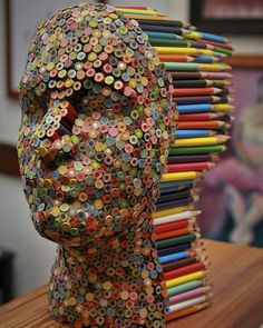 Color Blind: Colorful Pencil Sculpture By Molly Gambardella - Art Attack Art Sculpture, Wire Sculptures, Simple Illustration, Watercolor Illustration, Wow Art, Art Plastique, Pencil Art, Oeuvre D'art, Colored Pencils