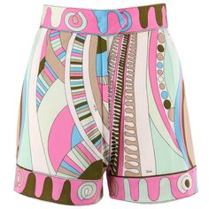 View this item and discover similar for sale at - Vintage Emilio Pucci pink multicolor signature op art print silk shorts in shades of pink, white, beige, green, and blue. Black Girl Fashion, Hipster Fashion, Modest Fashion, Retro Fashion, Korean Fashion, Boho Fashion, Vintage Fashion, Fashion Design, Fashion Trends