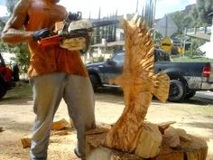 speed carving eagle sculpture