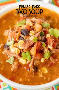 Pulled Pork Taco Soup – the BEST taco soup EVER! Pulled pork, pinto beans, black beans, diced tomatoes and green… Pulled Pork Chili, Pulled Pork Recipes, Shredded Pork Recipes, Recipes With Pork Broth, Recipes With Pulled Pork Leftovers, Leftover Pulled Pork, Pork And Beans Recipe, Pork Soup, Taco Soup