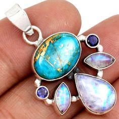 Copper-Blue-Arizona-Turquoise-Rainbow-Moonstone-Iolite-925-Pendant-SP145999