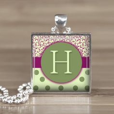 25mm Green Letter H Initial in a Silver Square by Aleareashop. $7.95, via Etsy.