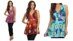 Features tie dye designs, sequin embroidery pattern at waist and neckline, v-neck neckline, and double layered lining. Length of top drapes to mid thigh with an elegant drape. Lightweight cotton fabric and relaxed fit makes this dress perfect for warm weather and can be worn layered for cooler climates. Can be worn alone with sandals or layered over tights or leggings and a cute boot! Great to wear any season.