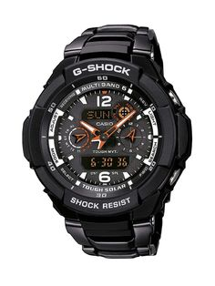 Casio GW-3500BD-1AER Gents Watch Quartz Analogue Black Dial Black Steel Strap