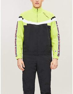 Champion Logo-trimmed Half-zip Shell Jacket In Nbk/fll/wht Nike Half Zip, Champion Logo, Budget Fashion, Fashion Night, Neon Colors, Workout Gear, Athleisure, Night Out, Mens Fashion