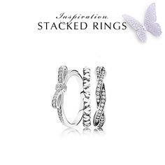 To tie a bow around is a classic remembrance technique. Combine the bow ring with other stackable rings for an unforgettable look. #PANDORA #PANDORAring