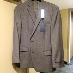 John Varvatos charcoal plaid Jacket SlackSuit pant New with tags, never worn! Gorgeous quality two button Brown Plaid 2 piece suit jacket with beautiful olive lining from Nordstrom. Size 46R never altered. Matching suit pants with tags 39R. Stored in suit cover. Just beautiful! Make me an offer!    Tags: Hugo boss, Armani, Calvin Klein, Tommy Hilfiger , nordstroms, macys, alfani,Armaniexchange, guess, h&m , forever 21, hat, cap, tie, coat, dress pants, dress belt, dress shirts, long sleeve…