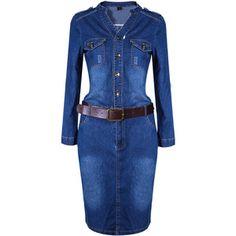 SheIn(sheinside) Blue Long Sleeve Denim Sashes Dress