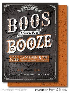 Boos And Booze Cocktail Halloween Party Invitations DI 10433FC Custom