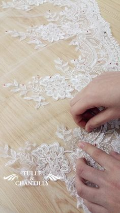 handmade lace wedding dress with lace bottom sewing details