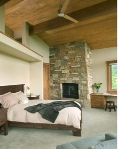 Modern Master Bedroom With Fireplace modern master bedroom - found on zillow digs// love this bedroom