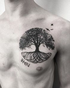50 Gorgeous and Meaningful Tree Tattoos Inspired by Nature's.- 50 Gorgeous and Meaningful Tree Tattoos Inspired by Nature's Path 50 Gorgeous and Meaningful Tree Tattoos Inspired by Nature& Path – KickAss Things - Tree Tattoo Men, Tree Tattoo Designs, Tattoo Designs For Women, Tree Roots Tattoo, Yggdrasil Tattoo, Rib Tattoos For Guys, Tattoos For Women, Cool Tattoos, Viking Tattoos For Men