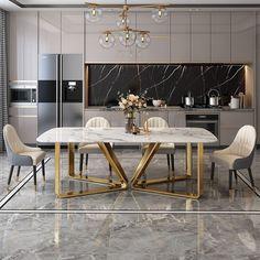 Kitchen Room Design, Modern Kitchen Design, Dining Room Design, Home Decor Kitchen, Interior Design Kitchen, Interior Modern, Modern Luxury, Gold Kitchen, Marble Interior