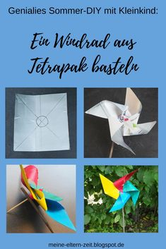 Unsere liebsten DIY-Upcycling Ideen mit kleinen Kindern für Garten, Balkon und Terrasse Handicraft instructions: Quite simply from an old Tetrapak tinker a pinwheel for garden, balcony or terrace child Crafts To Sell, Diy And Crafts, Tetra Pack, Old Windmills, Recycled Crafts Kids, Meditation Garden, Diy Upcycling, Summer Crafts For Kids, Diy Garden Decor