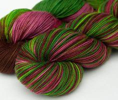 Handpainted merino sock yarn 35 oz Winesap by huckleberryknits, $24.00