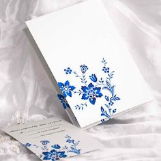 royal blue Wedding Invitations | Delicate Royal Blue Half Folded Wedding Invitations UKF002 [UKF002 ...