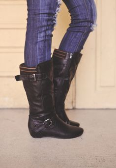 Dottie Couture Boutique - Mid Rise Boot - Black, $46.00 (http://www.dottiecouture.com/mid-rise-boot-black/)