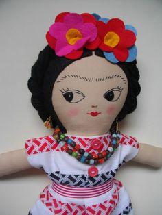 FRIDA KAHLO Art Doll Handmade plush toy original Rag doll cloth doll plushie -