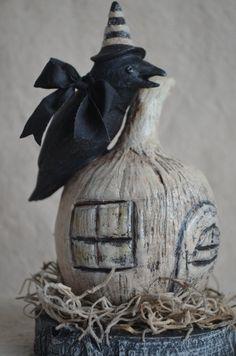 """Halloween Folk Art """"Pumpkin Crow"""""""