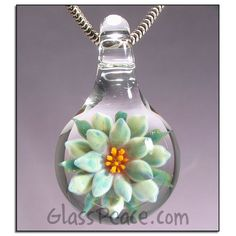 SALE Glass Flower Necklace Focal by Glass Peace $17.60