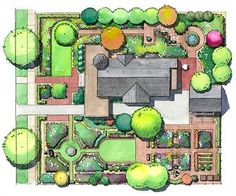English-Style Landscape Plan - Use the elements of formal British design to make your yard shine. Intersecting paths with an attractive fountain, clipped hedges, and geometric raised beds will give your landscape four-season interest.
