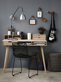 Grey and wooden workplace