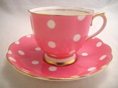 'Royal Albert' English china tea cup and saucer, [for sale in stores], for tea at Rose cottages and gardens Party Set, Tea Party, Royal Albert, Café Chocolate, Rose Bonbon, China Tea Cups, Teapots And Cups, My Cup Of Tea, Pink Polka Dots